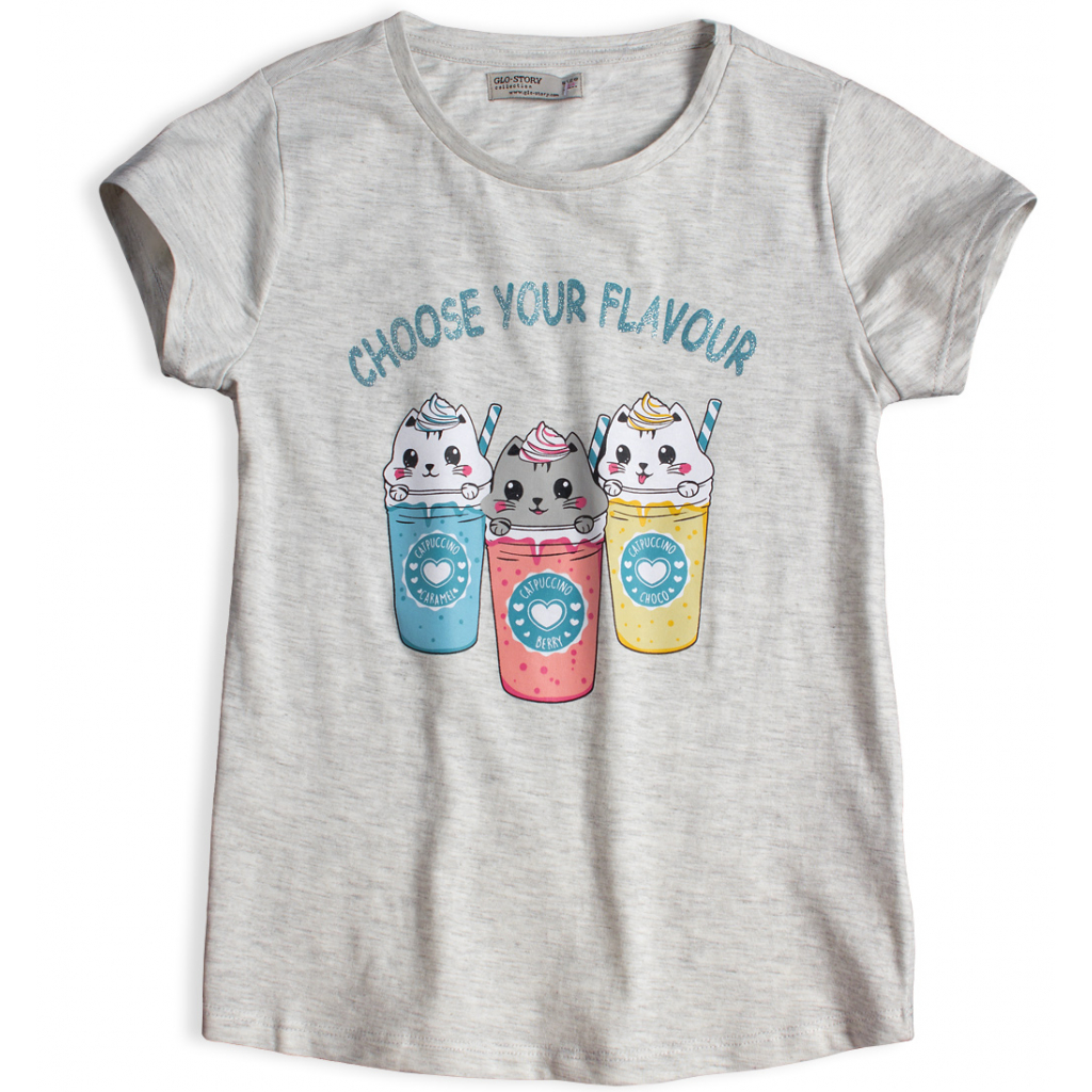 Dievčenské tričko GLO STORY CHOOSE YOUR FLAVOUR šedé
