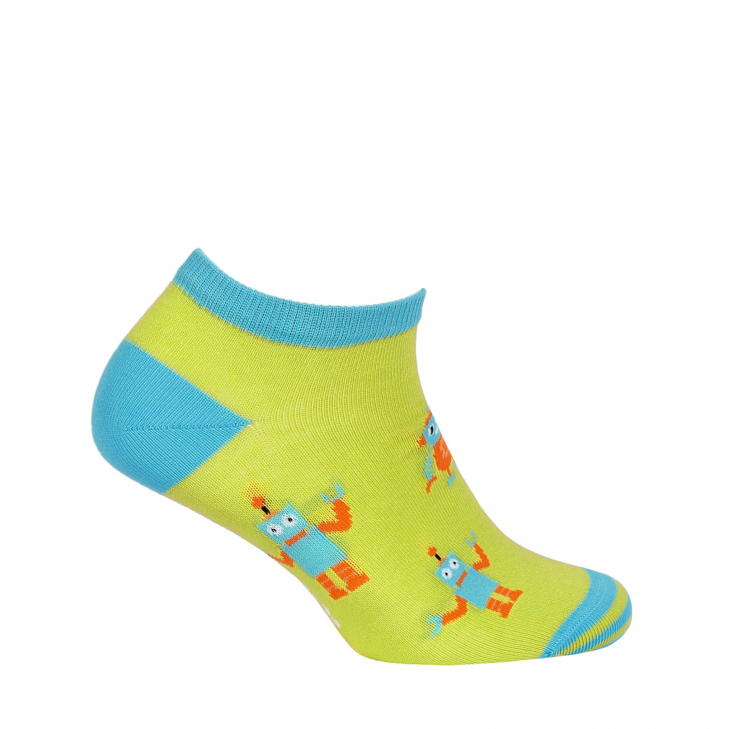 Chlapčenské členkové ponožky WOLA ROBOTI zelené