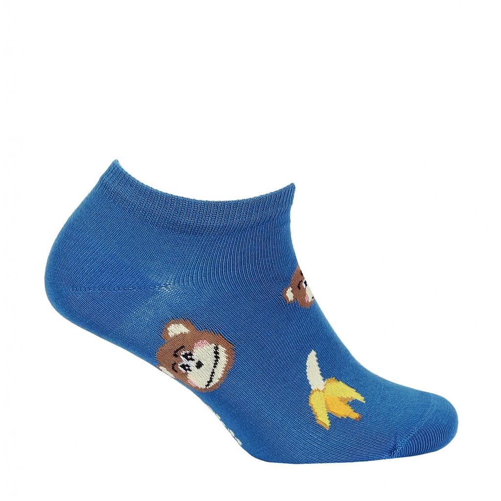 Detské členkové ponožky WOLA OPIČKY modré