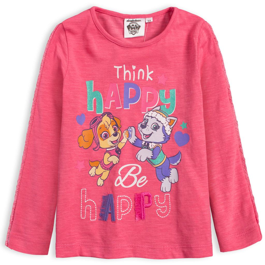 Dievčenské tričko PAW PATROL BE HAPPY ružové