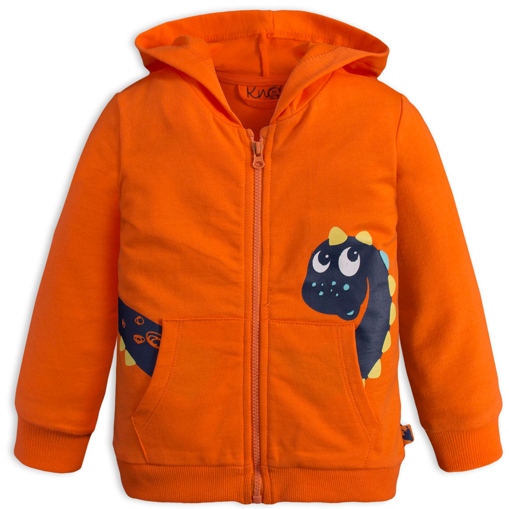 Dojčenská mikina KNOT SO BAD DINO oranžová