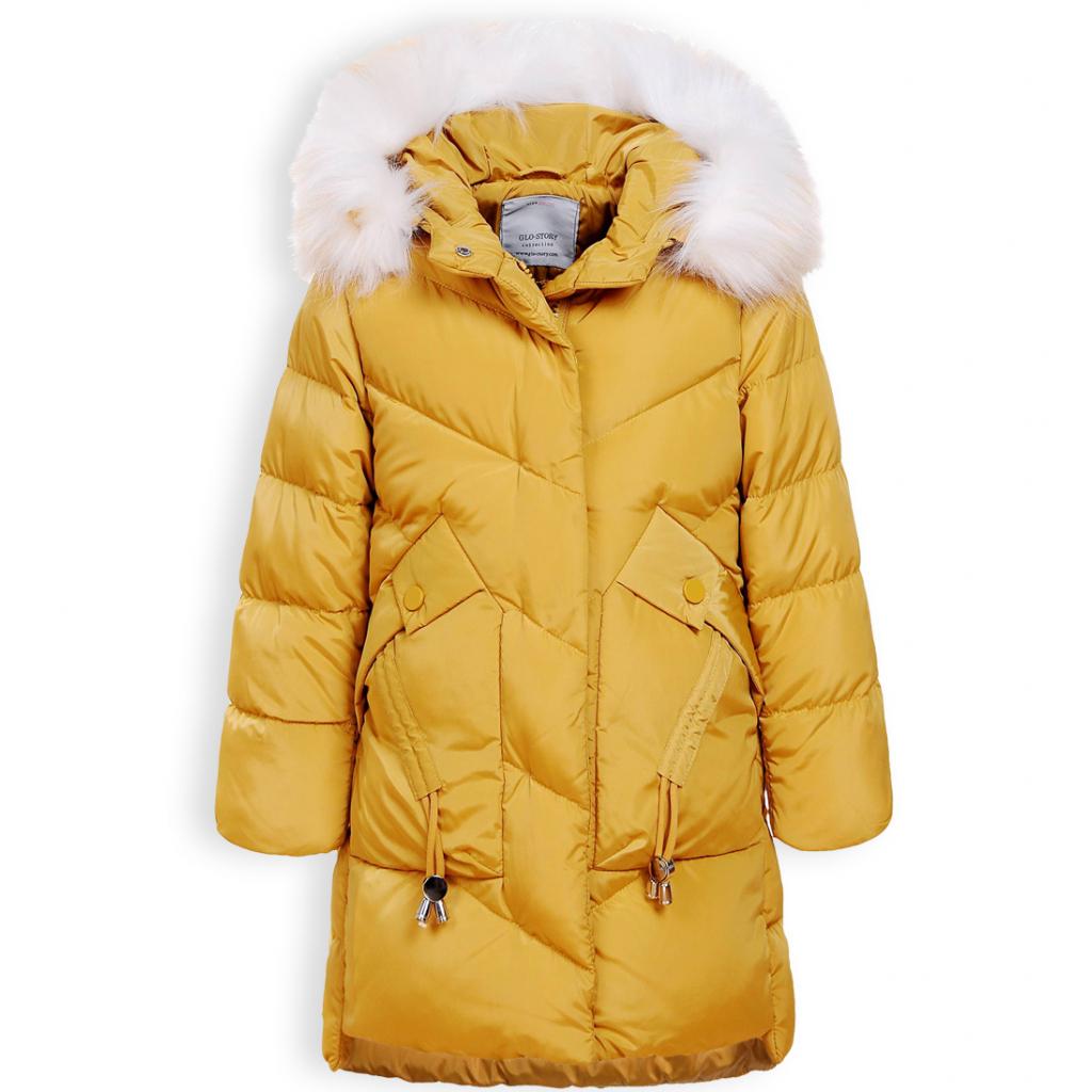 Dievčenský zimný kabát GLO STORY DOWN horčicový