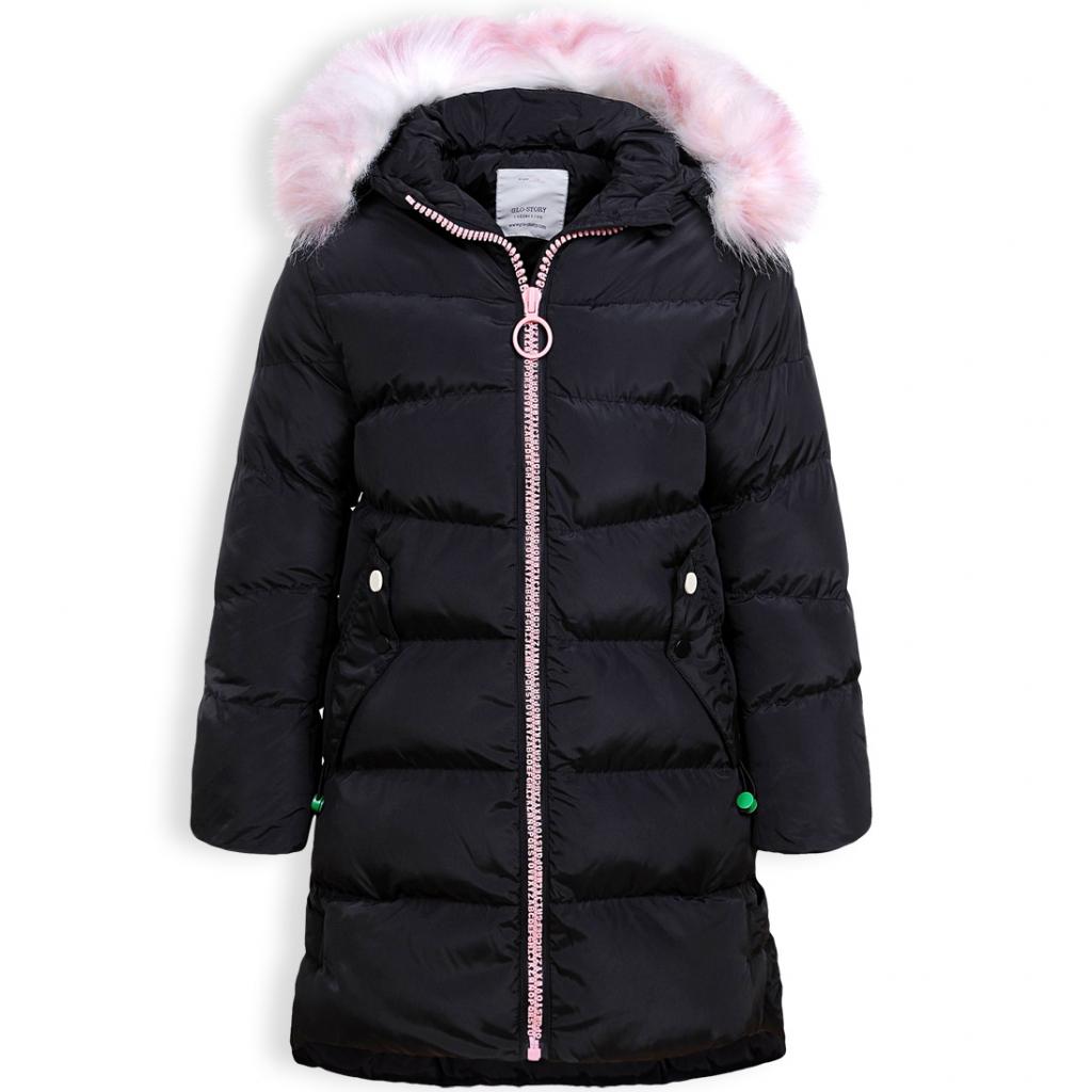 Dievčenský zimný kabát GLO STORY ALPHABET čierny