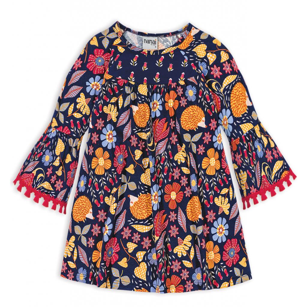 Dievčenské šaty NANAI KVETINKY modré