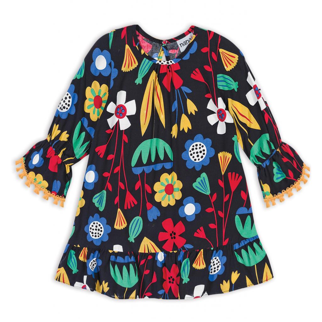 Dievčenské šaty NANAI KVETY čierne