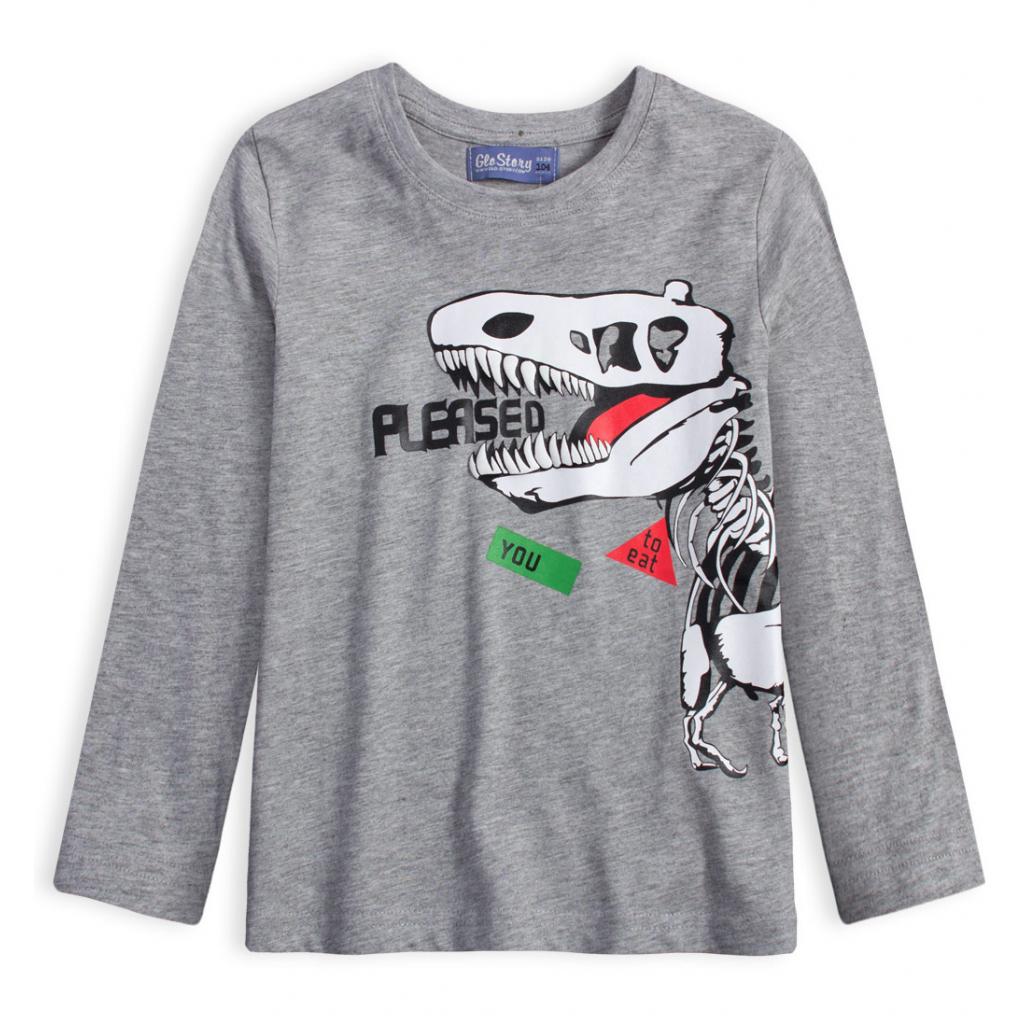 Chlapčenské tričko GLO STORY DINO EAT YOU šedý melír