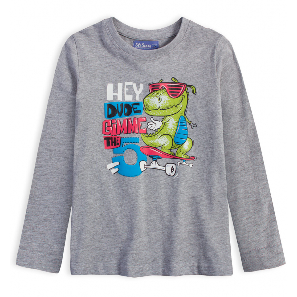Chlapčenské tričko GLO STORY DINO HEY šedý melír