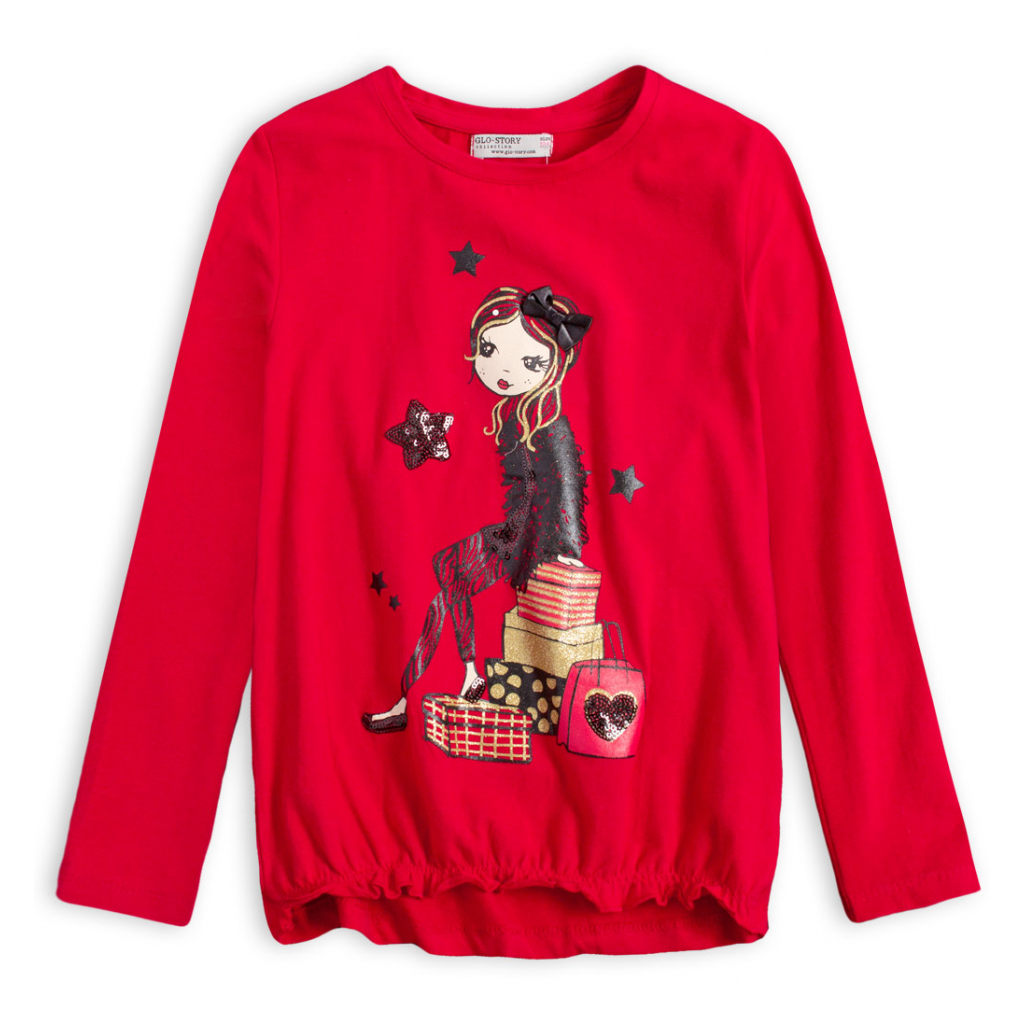 Dievčenské tričko GLO STORY SHOPPING GIRL červené