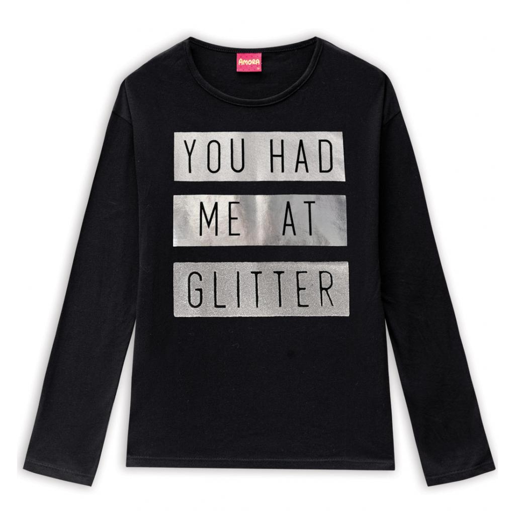 Dievčenské tričko AMORA GLITTER čierne