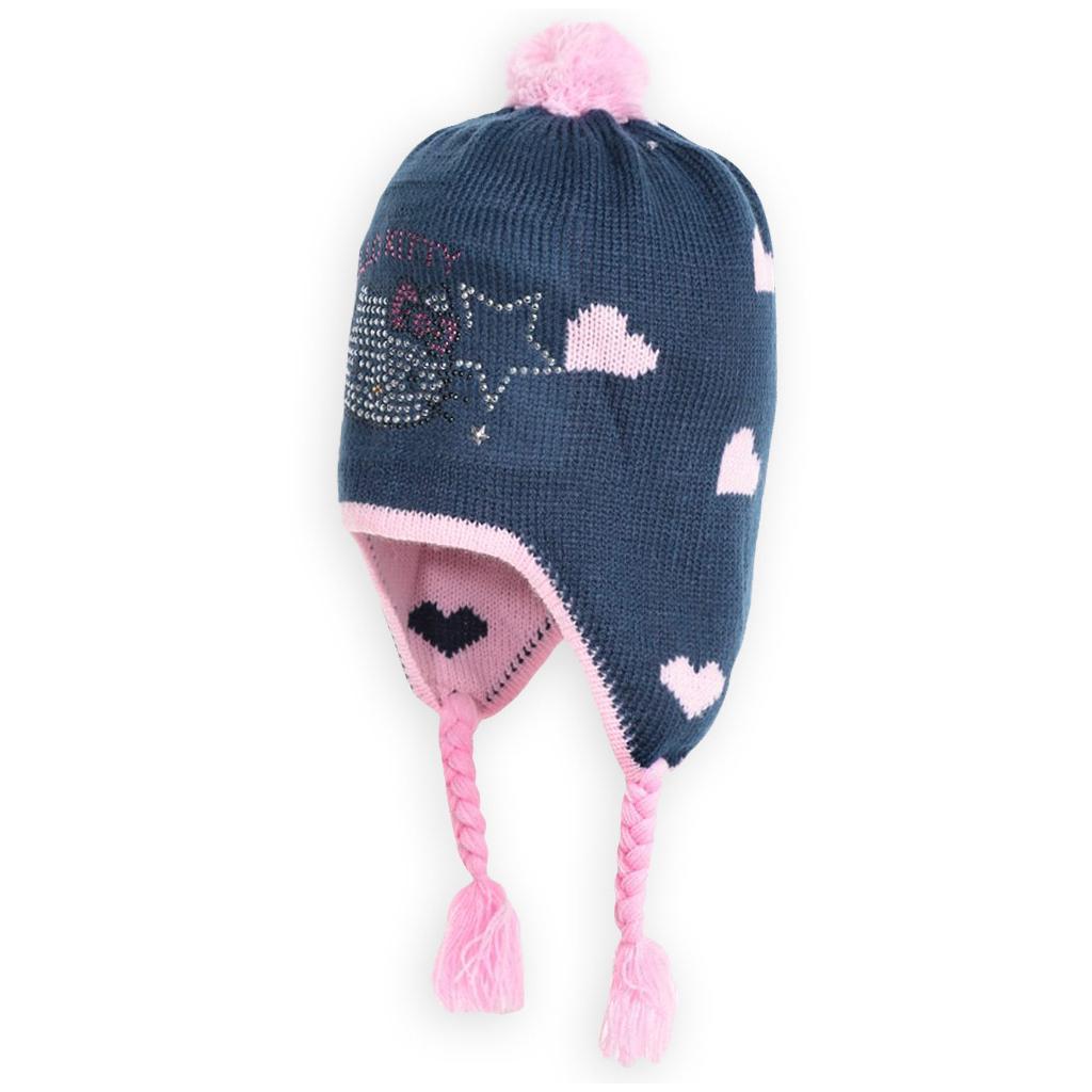 Dievčenská čiapka HELLO KITTY SRDCE,HVIEZDY modrá