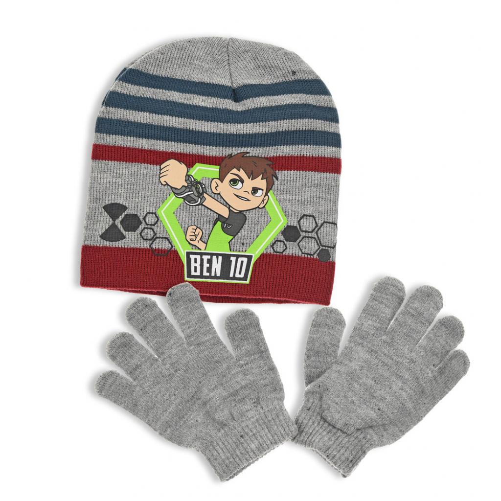 Chlapčenská čiapka a rukavice BEN 10 šedo-vínová