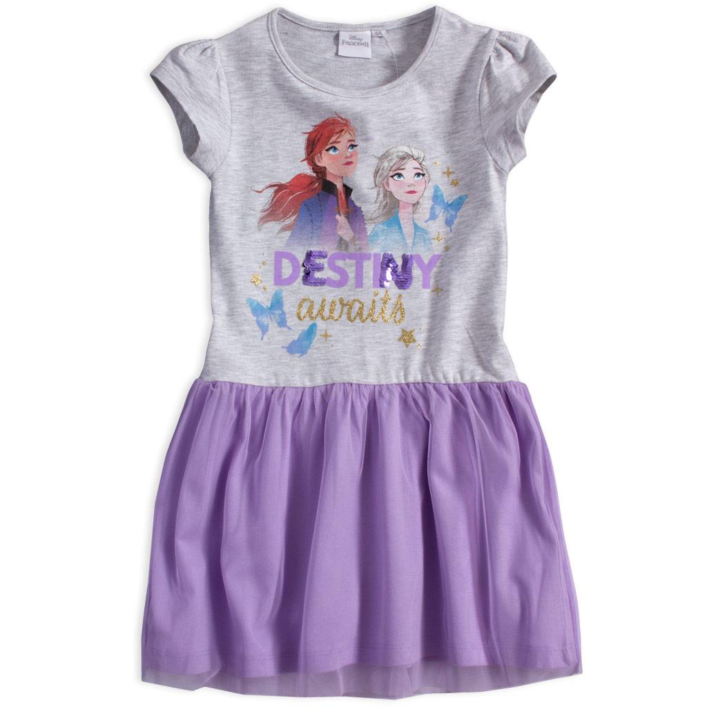 Dievčenské šaty DISNEY FROZEN DESTINY šedo-fialové