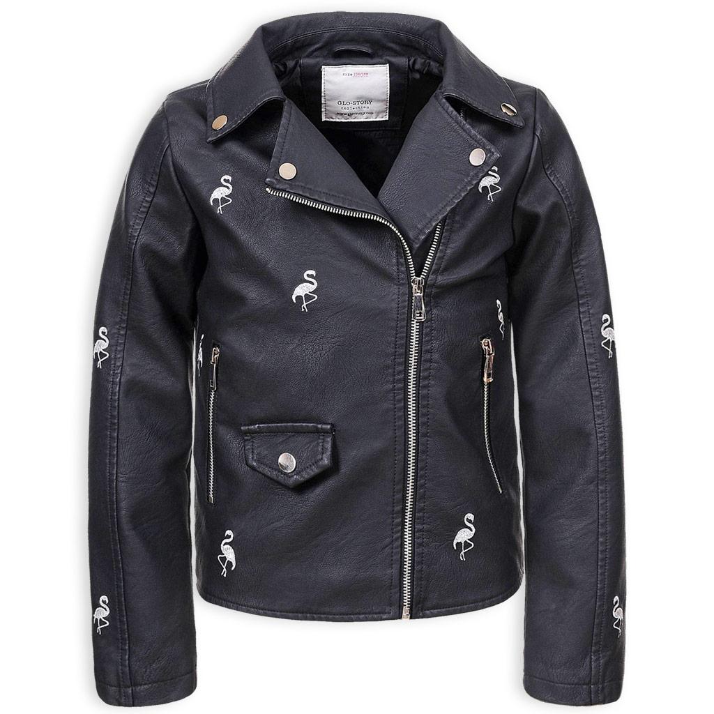 Dievčenská koženková bunda GLO STORY PLAMENIACI čierna