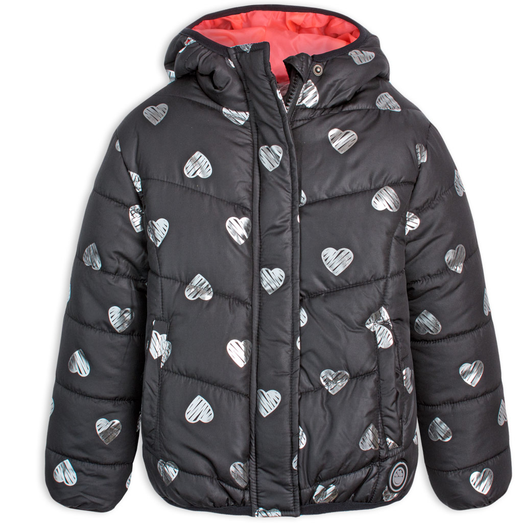 Dievčenská prešívaná bunda LEMON BERET HEARTS čierna