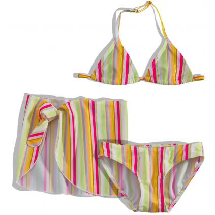 Dievčenské plavky + pareo DIRKJE prúžky