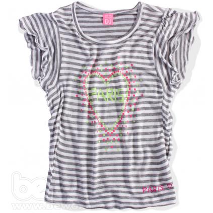 """""""Dievčenské tričko s volánikovými rukávmi DIRKJE """"""""PARIS"""""""" sivý prúžok"""""""