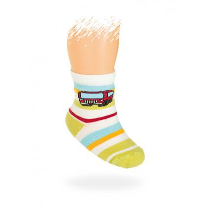 Dojčenské ponožky, vzor AUTOBUS