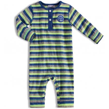 Dojčenský overal DIRKJE modrozelený pásik