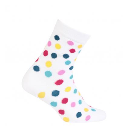 Dievčenské vzorované ponožky WOLA BODKY biele