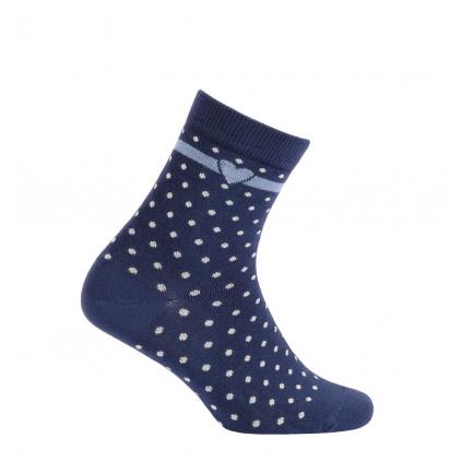Dievčenské vzorované ponožky WOLA BODKY, SRDIEČKO modré