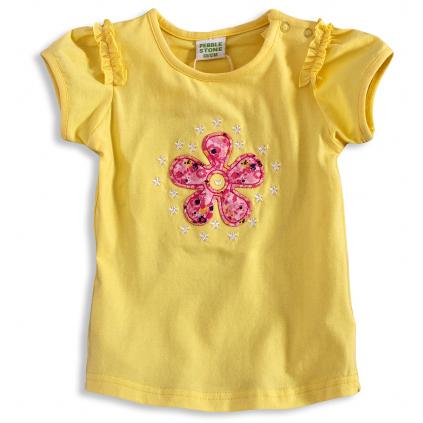 Dievčenské tričko PEBBLESTONE KVETINKA žlté