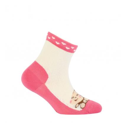 Dievčenské vzorované ponožky GATTA OPIČKA smotanové