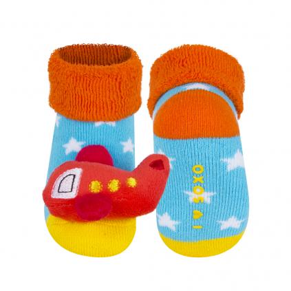 Dojčenské ponožky s hrkálkou SOXO LIETADLO tyrkysové