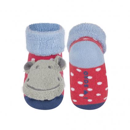 Dojčenské ponožky s hrkálkou SOXO HROŠÍK červená