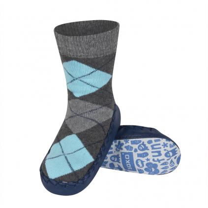 Detské papuče s koženou podošvou SOXO KÁRO modré