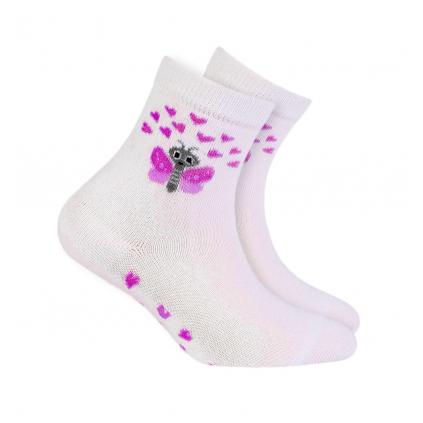Dievčenské vzorované ponožky WOLA MOTÝLIK biele
