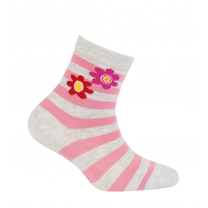 Vzorované dievčenské ponožky WOLA KVETINKY šedé