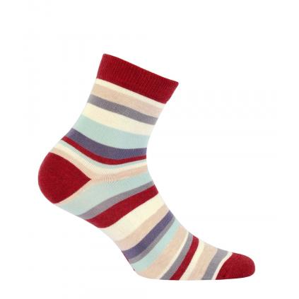 Dievčenské ponožky WOLA PRÚŽKY tehlové