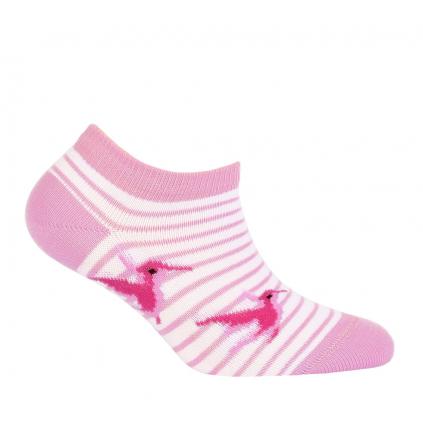 Dievčenské členkové ponožky WOLA VTÁČIK ružové