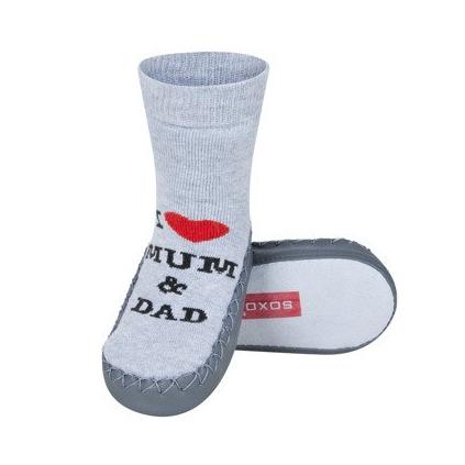 Detské ponožky s koženou podošvou LOVE šedé