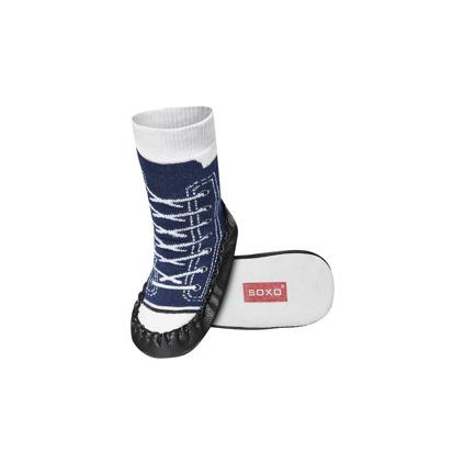 Detské ponožky s koženou podošvou TENISKY tmavo modré