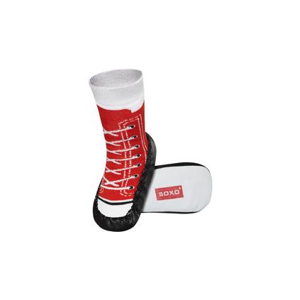Detské ponožky s koženou podošvou TENISKY červené