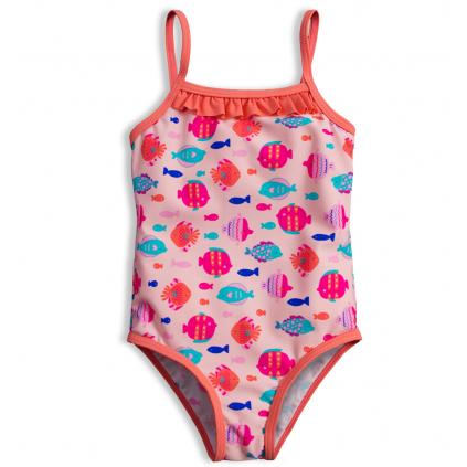 Plavky vcelku pre dievčatá KNOT SO BAD RYBKY ružové