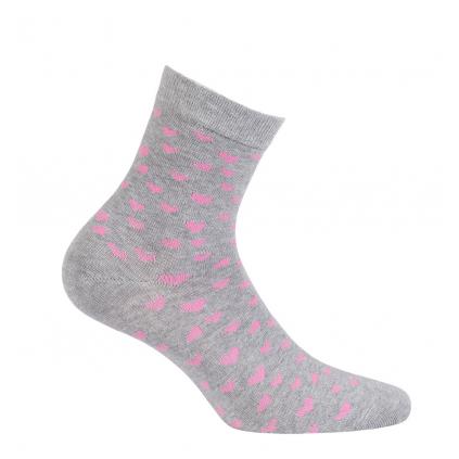 Dievčenské vzorované ponožky GATTA SRDIEČKA šedé