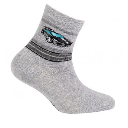 Chlapčenské ponožky so vzorom GATTA ŠPORTOVÉ AUTO šedý melír