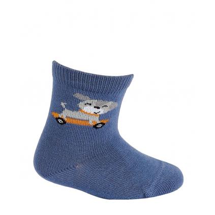 Dojčenské chlapčenské vzorované ponožky WOLA PSÍK modré