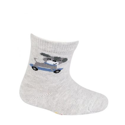 Dojčenské chlapčenské vzorované ponožky WOLA PSÍK šedé