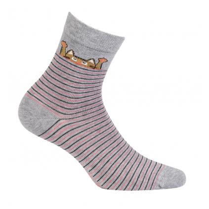 Dievčenské vzorované ponožky WOLA MAČKA šedé