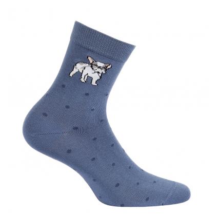 Dievčenské ponožky so vzorom WOLA MALÝ BULDOG modré