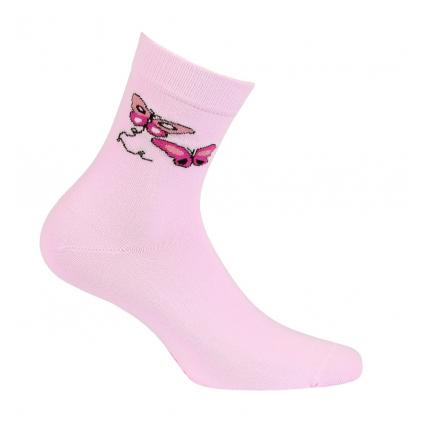 Dievčenské ponožky so vzorom WOLA MOTÝLE ružové
