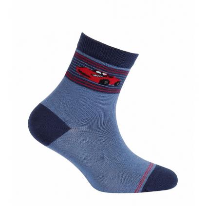 Vzorované chlapčenské ponožky WOLA AUTO modré