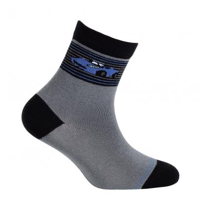 Vzorované chlapčenské ponožky WOLA AUTO šedé