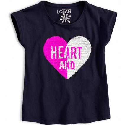 Dievčenské tričko s preklápacími flitrami LOSAN HEART modré