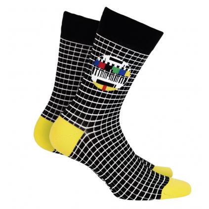 Pánske vzorované ponožky WOLA MONOSKOP čierne