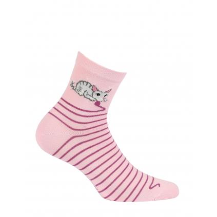 Dievčenské vzorované ponožky WOLA MAČIČKA ružové