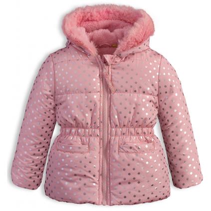 Dojčenská dievčenská zimná bunda LEMON BERET BODKY ružová